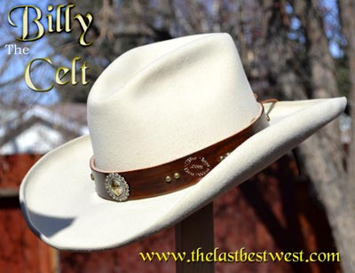 Custom stamped leather hat band.
