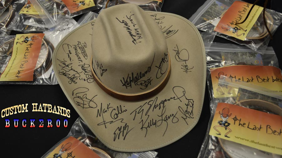 Our signed Nashville hat surrounded by gift bags.
