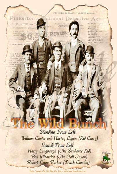 (L-R) The Sundance Kid, William Carver, Ben Kilpatrick, Kid Curry, Butch Cassidy.